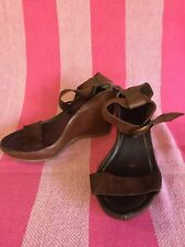 Brando Dark Tan Leather Wedges - Excellent Condition - Size 37