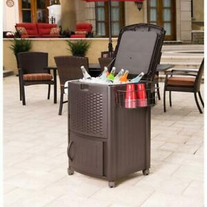 Wicker Cooler Rattan Outdoor Patio Deck Party Ice Cabinet n Wire Basket Resin