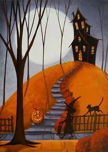Giclee ACEO folk art Halloween witch cat JOL haunted house stairway moon night