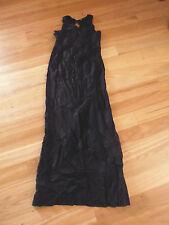 LADIES CUTE BLACK LONG RAYON/SILK SLEEVELESS DRESS BY HUSSY - SIZE 8 - CHEAP
