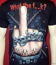 WHAT THE F..K SKULL KETTEN T-SHIRT M L XL 2XL GLOW IN THE DARK fluoreszierend