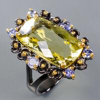 Lemon Quartz Ring Silver 925 Sterling 20x11 mm. IF GE Size 8.5 /R138019