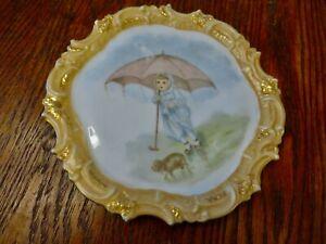 "7"" Vintage T & V Limoges Plate  With Scalloped Edge - France.Girl Dog Umbrella"
