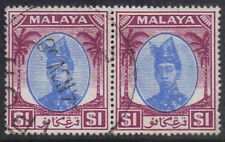 Malaya TRENGGANU 1949 2 x $1 Bleu & Violet Sultan Ismail SG 85 utilisé H