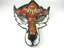 UNIQUE VINTAGE HAND CRAFTED & PAINTED FOX COSTUME COSPLAY FACE MASK ~ HOME DECOR