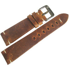22mm ColaReb Firenze Mens Rust Brown Distressed Leather Italian Watch Band Strap