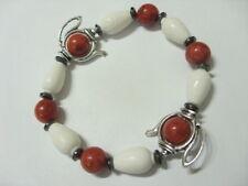 Teekanne Armband Armkette Bracelet 20 cm m.rote & weiße Koralle auf Stretchband