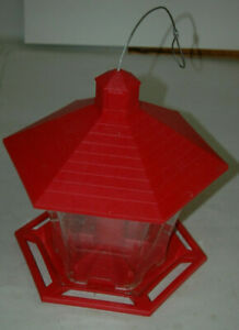 Red Roof Hexagon Shape Bird Feeder Nature Clear 6 Sides