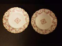 "Elite Works Limoges Pink  Roses Gold Trim 2 Bread and Butter  Plates 6 1/4"""