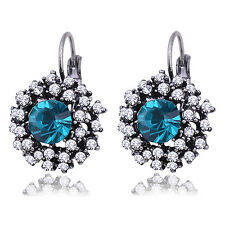 Silver Plated Blue Vintage Rhinestone Crystal Round  Lever Back Earrings Gift