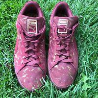 Maroon & Purple Puma Suede Indoor Soccer Futsal Shoes US Size 14 Slightly Used.