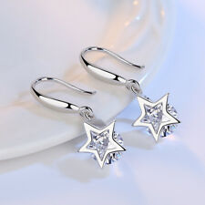 crystal dangle earrings Silver tone star and