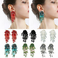 Boho Handmade Fashion Crystal Flower Tassel Earrings Beaded Drop Dangle Ear Stud
