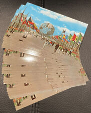 LOT OF 25 - 1965 NEW YORKS WORLDS FAIR POSTCARDS - UNISPHERE & FLAGS