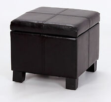 Ottoman Small Black Leather Square Storage Box Foot Stool Bench Seat
