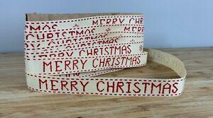 Merry Christmas ribbon Red Herringbone Xmas present gift bow SOLD PER METER UK