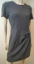 ISSA LONDON Grey 100% Wool Short Sleeve Pleated Skirt Short Formal Dress UK12