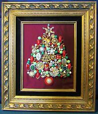 VINTAGE Jewelry OOAK Christmas Tree Framed Picture Art (A)