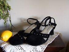 Black Velvet 7 Block Heels = Mary Jane's = Rhinestone Details = Ankle Strap NICE