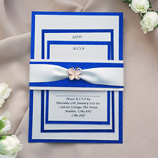 Royal blue glitter and rose gold diamante wedding invitation set butterfly trim