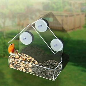 New Window Bird Feeder Glass Clear Viewing Hanging Suction Seed Peanut Fatball