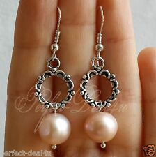 925 Sterling Silver hook Natural Light Pink Fresh Water Pearls Earrings