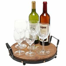 Rustic Wine Wood Round Serving Tray Dinning Display Black Metal Frame Home Decor