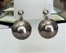 Silver Stamped Puffed Bead Earrings Vintage Navajo Pearls Large Sterling