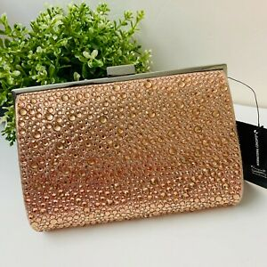 INC Loryy Hot Fix Pink Embellished Sparkle Rose Gold Clutch Chain 10003544300