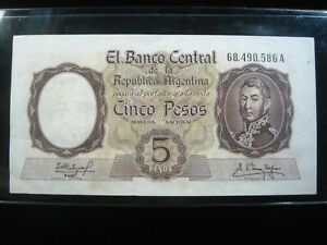 ARGENTINA 5 PESOS 1960 - 1962 P275c SHARP 586# BANK CURRENCY BANKNOTE MONEY