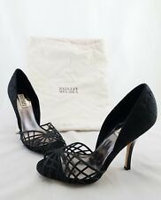 "Badgley Mischka Black Satin Strappy Peep Toe High Heels 4.5"" Stilettos Size 10M"
