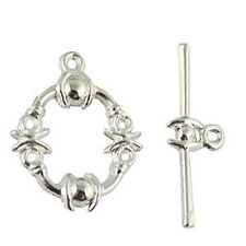 30Sets Silver Plate Fantastic toggle clasps A5109SP