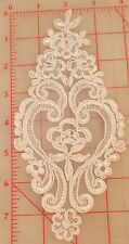 """12 white appliques embroidered flower designs on organza gimp outline 7.5"""" small"""
