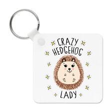 Crazy Hedgehog Lady Keyring Key Chain - Cute Funny