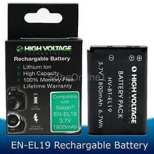 EN-EL19 Battery for Nikon Coolpix S100 S3100 S3300 S4100 S4300 S6500 1800mAh