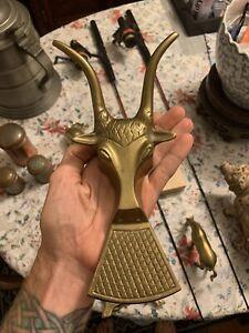 Vintage Brass Goat Head Bootjack Door Stop Doorstop Wedge Boot Jack Horns Antler
