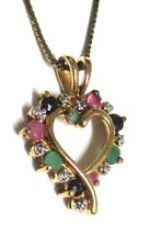 925 Vermeil Heart Pendant Ruby Emerald Sapphire Estate