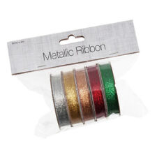 """Ribbon Metallic 5 Pack Assorted 3/8"""" Wide x 2yds Silver Gold Bronze Red Green"""