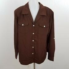 Susan Graver button front shirt brown L polyester long sleeve shoulder pads new
