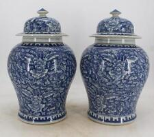 antique A pair of qing dynasty blue and white porcelain mixed with water peonies