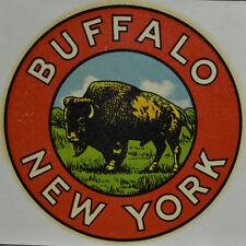 ORIGINAL VINTAGE TRAVEL DECAL BUFFALO NEW YORK NY AUTO TRAILER OLD LUGGAE RV CAR