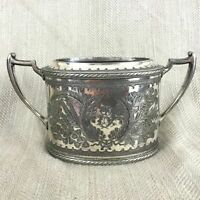 Victorian Silver Plated Bowl Pot Ornate Chased Pattern Twin Handled 1891