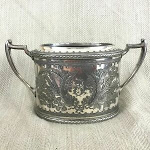 1891 Antique Silver Plated Bowl Pot Ornate Chased Pattern Twin Handles Victorian