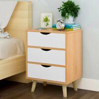 3-Drawer Storage Cabinet Bedroom Bedside Locker Nightstand Bedside End Table