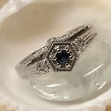 Natural Sapphire 925 Solid Sterling Silver Solitaire Engagement Ring sz 6