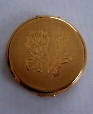 Vintage Stratton Embossed Roses Compact Goldtone Made in England