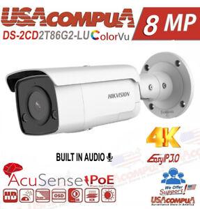 Hikvision 4K 8MP AcuSense+DarkFighter DS-2CD2T86G2-LU IP Camera Mic+Speaker