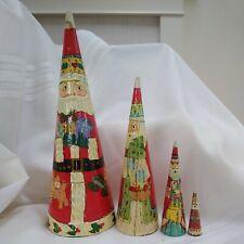 "Vintage Santa Nesting Dolls 11"" Christmas Cone-Shaped Wooden Set Of 4"