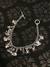 12 Days Of Christmas Charm Bracelet Silver Tone With Crystal Detail Toggle Clasp