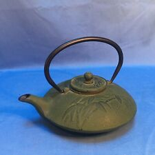 Vintage Green Bamboo Japanese Cast Iron Teapot Tetsubin Infuser with Lid